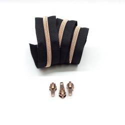 Kupfer metallisierte Reißverschluss schwarz, inklusive 3 Zipper