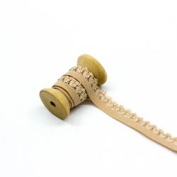 elastisches Kantenband mit Blümchen 15mm breit sand