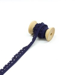 elastisches Kantenband mit Blümchen 15mm breit dunkelblau