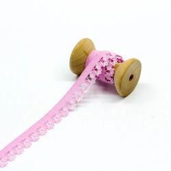 elastisches Kantenband mit Blümchen 15mm breit rosa