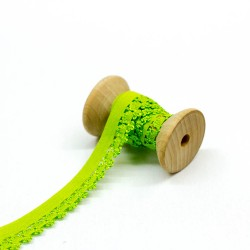 elastisches Kantenband mit Blümchen 15mm breit lime