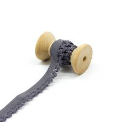 elastisches Kantenband mit Blümchen 15mm breit grau