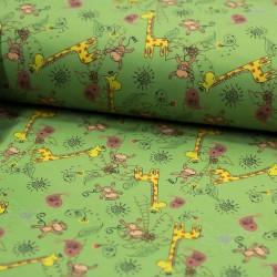 Softshell Stoff Giraffen Affen grün