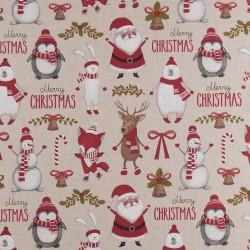 Stoff Dekostoff Weihnachten Merry Christmas Weihnachtsmann Schneemann