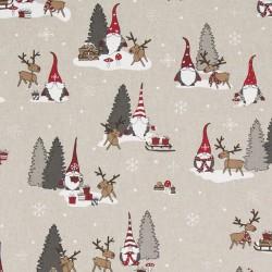 Stoff Dekostoff Weihnachten Wichtel Schnee Rentier
