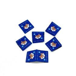 Webetikett Fox Ornaments Kantenetikett blau
