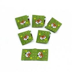 Webetikett Fox Ornaments Kantenetikett grün