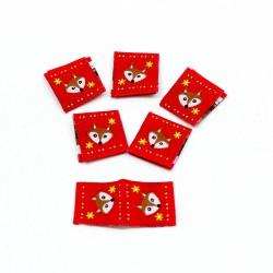 Webetikett Fox Ornaments Kantenetikett rot