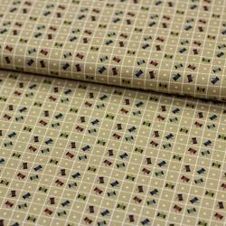 Stoff Baumwollstoff Primitive Stitches Garnröllchen beige