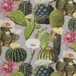 Stoff Dekostoff Digitaldruck Kaktus Mix grün