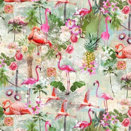 Stoff Dekostoff Digitaldruck Flamingos Blumen