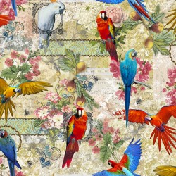 Stoff Dekostoff Digitaldruck Papagei Blumen