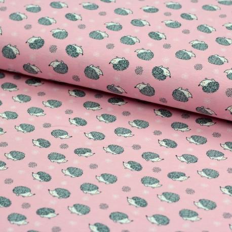 Stoff Baumwolljersey Igel rosa