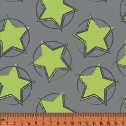 Organic Baumwoll Jersey Druck Stars In The Middle lime by petra laitner