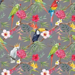 Stoff Dekostoff Digitaldruck TROPICAL BIRDS