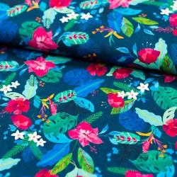 Stoff Baumwolle Voile Nora by Swafing Blumenmuster dunkelblau