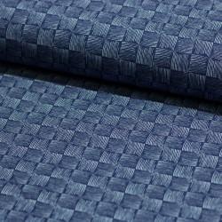 Stoff French Terry Kritzel-Schachbrett Sweat Rick jeansblau