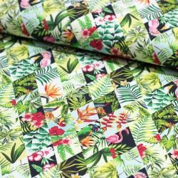 Dekostoff Mali Tropische Blumen Flamingos Rautenmuster