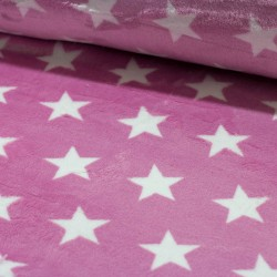 Stoff Flannel Fleece Double Site Sterne rosa