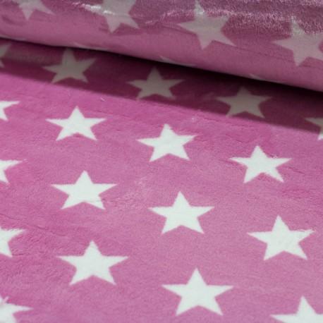 stoff flannel fleece double site sterne rosa kaufen brittschens. Black Bedroom Furniture Sets. Home Design Ideas