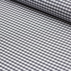 Stoff Baumwolle beschichtet Amel Vichy Karo grau 5mm
