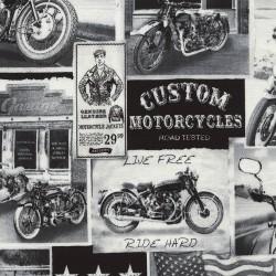 Baumwollstoff Timeless Treasure Motorrad Vintage Motorcycle News