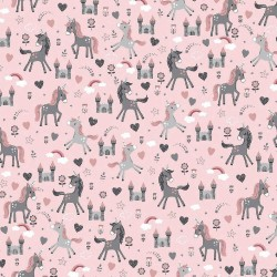 Stoff Baumwolle Einhorn LOVELY UNICORNS rosa