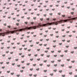 Stoff Baumwolle Einhorn LOVELY HEARTS rosa