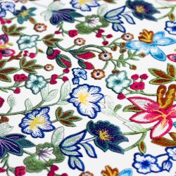 Kunstleder Lederimitat weiß mit bunten Blumen