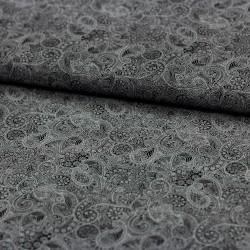 Stoff Baumwolle Popeline Florian Paisley weiß schwarz