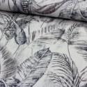 Stoff Dekostoff Borneo naturweiß Blätter