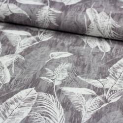 Stoff Dekostoff Borneo grau Blätter