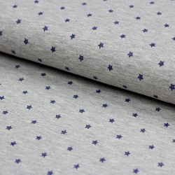 Stoff Baumwolljersey grau meliert mit Glitzer Sternen jeansblau