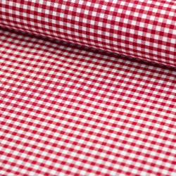 Stoff Baumwolle beschichtet Amel Vichy Karo rot 5mm