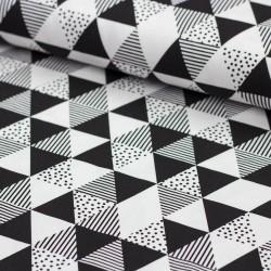 Stoff Baumwolljersey Misty Checks - Gitter - schwarz weiß