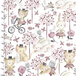 Baumwollstoff Play Day by Fabric Editions  Katzen Hasen weiß