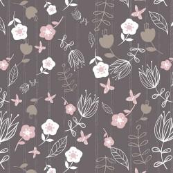 Baumwollstoff Play Day by Fabric Editions  Blumen Streifen taupe