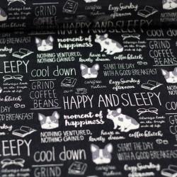 Beschichteter Stoff Bulldogge Schriftzüge schwarz