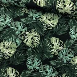 Stoff Baumwolle Popeline Palmblätter Monstera auf schwarz