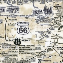Baumwollstoff Timeless Treasure Route 66 Map Natural