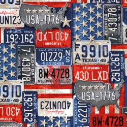 Baumwollstoff Timeless Treasure Vintage License Plates