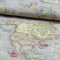 Dekostoff Stoff Weltkarte Linen Like