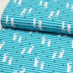 Baumwolljersey  Seepferdchen Streifen mint