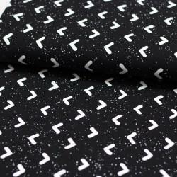 Baumwolljersey Sprenkel Zacken schwarz weiß