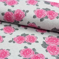 Interlock Jersey meliert Rosen grau rosa