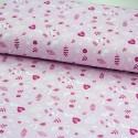 Baumwolljersey Vögel Blätter allover rosa