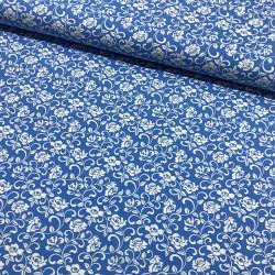 Stoff Baumwolljersey Klaranähta Blumen blau