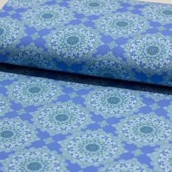 Stoff French Terry angerauht Klaranähta Ornamente blau grün