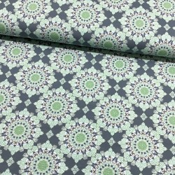 Stoff French Terry angerauht Klaranähta Ornamente grau grün