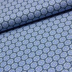 Stoff Baumwolle Klaranähta Blumen grau blau